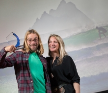 No repro fee 21-11-2017 Picture shows from left Seamus McGoldrick, who won Individual of the Year; with Dr Easkey Britton,pro surfer and NUIG researcher at An Taisce's Ocean Hero Awards 2017.Pic:Naoise Culhane-no fee
