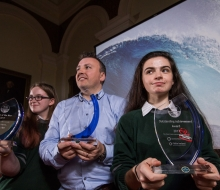 No repro fee 21-11-2017 Picture shows from left Alison Duggan,15;from St Coleman's Community College, Midleton, Co Cork who won School of the Year; Proinsias O'Tuama, Ballynamona Clean Coasts group, Co Cork who won Outstanding Award 2017; and Áine Lane,17; from Ballynamona Clean Coasts group, Co Cork at An Taisce's Ocean Hero Awards 2017.Pic:Naoise Culhane-no fee
